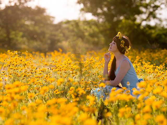 黄色い花に囲まれている女性