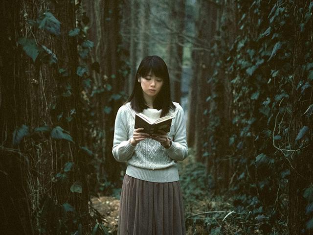 暗い森の奥で読書をしている女性