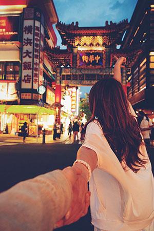 中華街に行くカップル