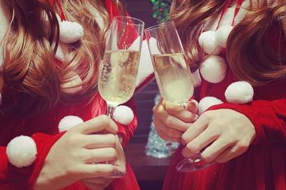 サンタコスとシャンパン