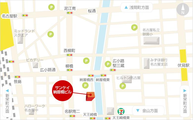 地下鉄東山線「伏見駅」7番出口、各線「名古屋駅」桜通口方面からお越しいただけます。