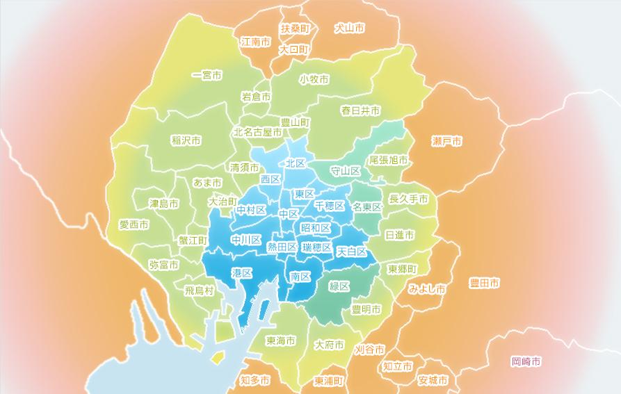 名古屋店デリバリーマップ