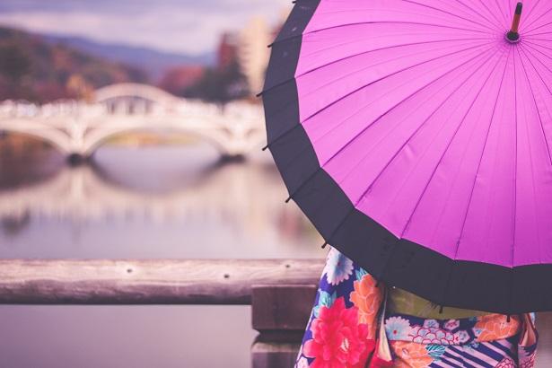 華やかな傘を差す女の子